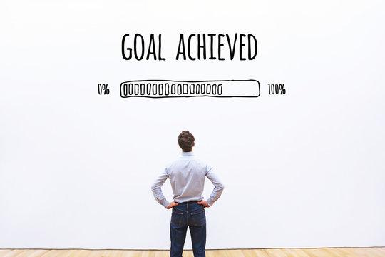 goal achieved progress loading bar, concept of success, achievement process
