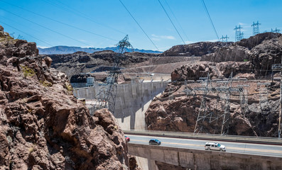 Engineering structures of Hoover Dam, Nevada. Panorama, aerial view