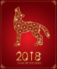 Happy Chinese new year. Year of the dog. Red and gold color. Vector illustration.