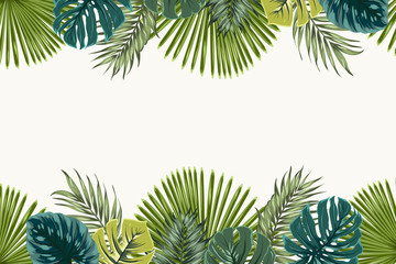 Exotic tropical jungle rainforest bright green navy turquoise palm tree and monstera leaves border frame template on white background. Horizontal landscape aspect ratio. Vector design illustration.