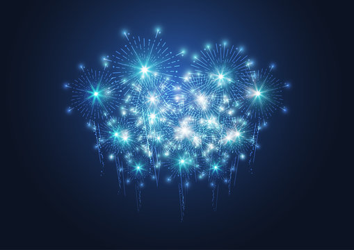 Firework on dark background for celebration, party, and new year event. Vector illustration