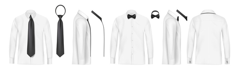 White male shirt with long sleeves, buttons and black tie and bow tie in front, back and side view, isolated on a gray background. 3D realistic vector illustration, pattern formal or casual shirt