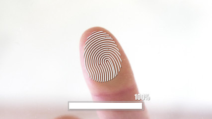 Person using fingerprint identification for access with a close up view of the fingertip showing 100 percent verification on a virtual screen with copy space in a security concept