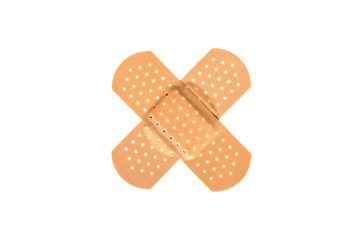 Two crossed bandages
