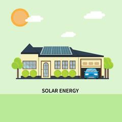 Solar panels on the house.