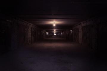 Dark long corridor with metal gates and working bulbs