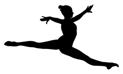 Split jump girl gymnast in competition gymnastics black silhouette