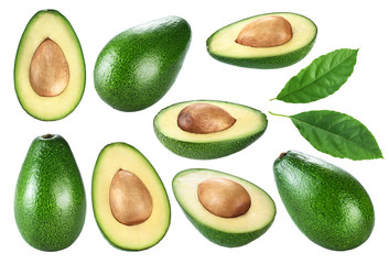 Avocado with leaf isolated on white background.