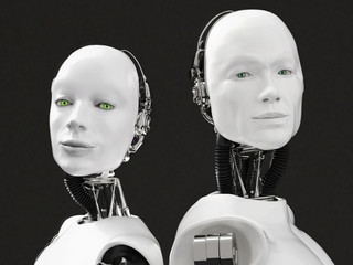 3D rendering of the heads of a female and male robot.