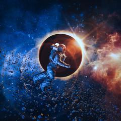 Solar eclipse astronaut / 3D illustration of astronaut floating in space during solar eclipse