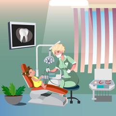 Dentist and cute girl on dental chair