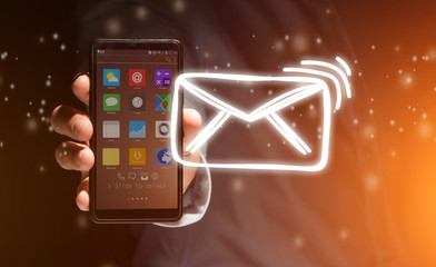 View of a Concept of sending message with email icon around - Communication and technology concept