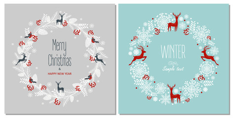 Greeting card with a festive wreath. Design Elements. Vector illustration