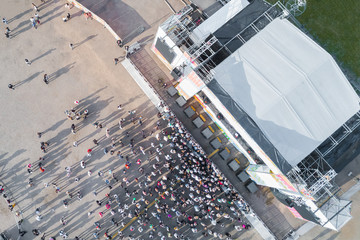 View from the drone of the crowd of people near the stage