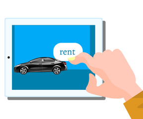 Rent car, concept. Online rent a car.