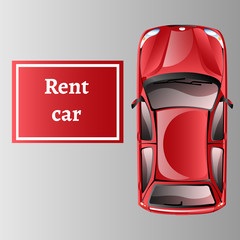 Car rent top view isolated