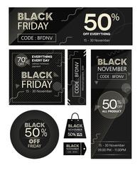 black friday banner promo, flyer, gift, collection concept on vector illustration landscape square and circle bag labels