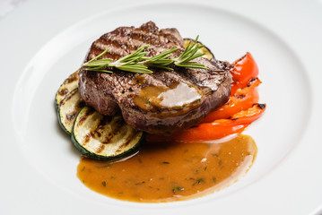 beef steak with grilled vegetables