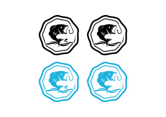 Bass Fishing in the Sea Vintage Logo Symbol
