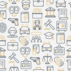 Law and justice seamless pattern with thin line icons: judge, policeman, lawyer, fingerprint, jury, agreement, witness, scales. Vector illustration for banner, web page, print media.