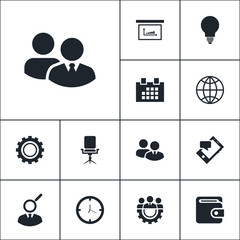 Business icon set simple vector sign