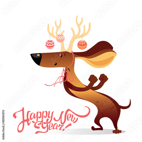 New Year\'s card with funny dancing dog \