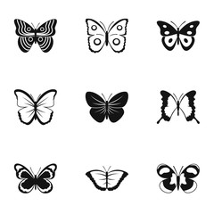 Types of butterflies icons set, simple style