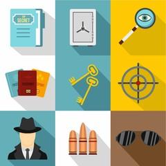 Surveillance icons set, flat style