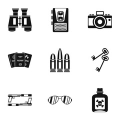 Secret agent icons set, simple style