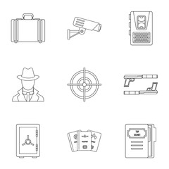 Scout icons set, outline style