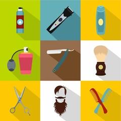 Barbershop icons set, flat style