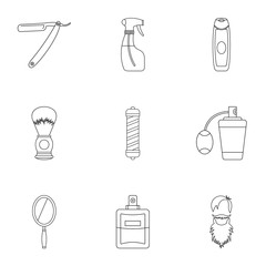 Barber icons set, outline style