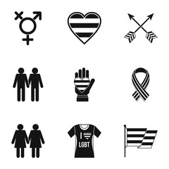 Culture LGBT icons set, simple style