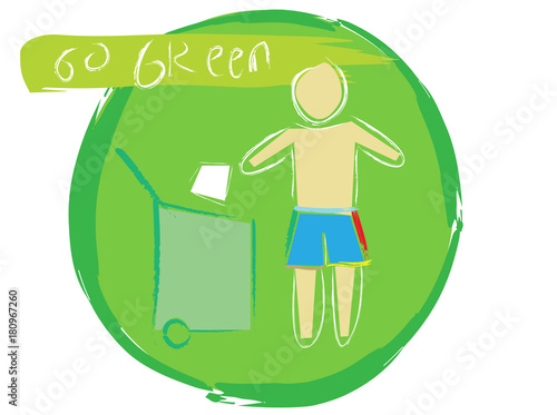 Go green sign with watercolor brush vector illustrator