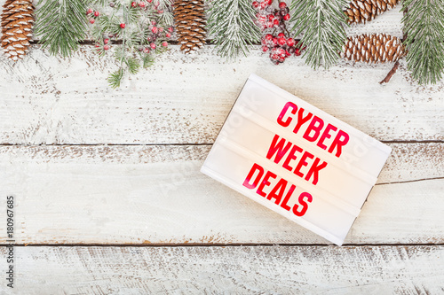 Cyber week deals on light box message on Christmas border frame ...