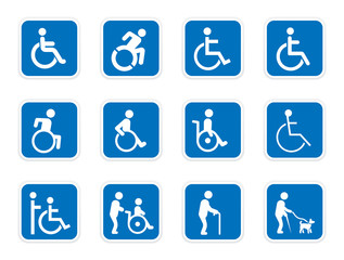 handicap sign set, disabled icons, vector illustration