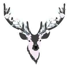 Deer with decorated horns. Roses. Flowers. Vector illustration. Leaves. Branches. Animal.