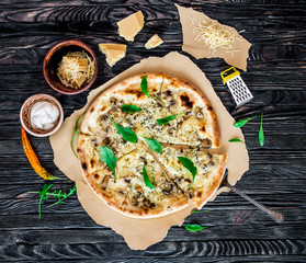Delicious italian cheese pizza on wooden background