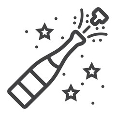 Champagne bottle pop line icon, New year and Christmas, xmas sign vector graphics, a linear pattern on a white background, eps 10.