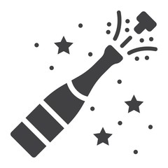 Champagne bottle pop glyph icon, New year and Christmas, xmas sign vector graphics, a solid pattern on a white background, eps 10.
