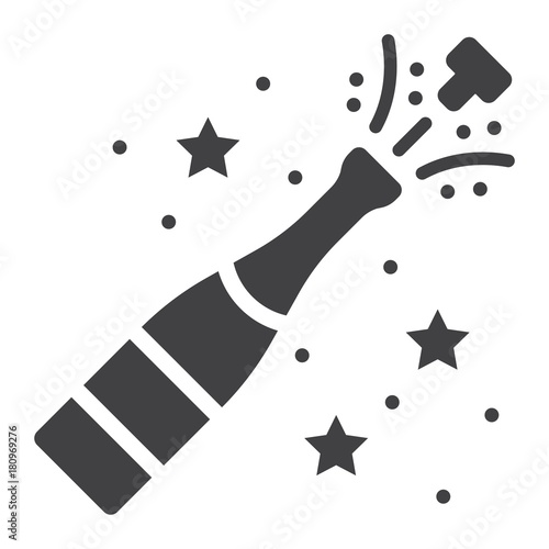 champagne bottle pop glyph icon new year and christmas xmas sign vector graphics