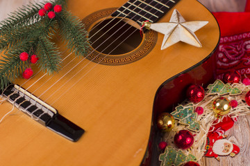 Christmas music background with guitar and holiday decor
