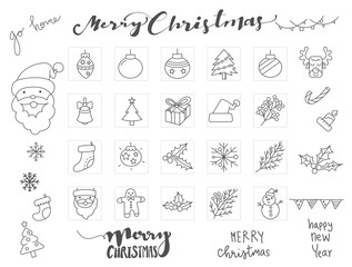 Christmas icons set with Hand drawn font and vector winter element vector illustration.