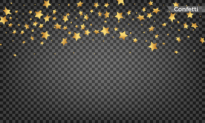 Gold star confetti. Festive design elements. Shiny flying confetti