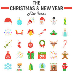 Christmas flat icon set, new year symbols collection, vector sketches, logo illustrations, holiday signs colorful solid pictograms package isolated on white background, eps 10.