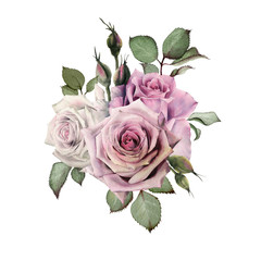 Bouquet of flowers, watercolor, can be used as greeting card, invitation card for wedding, birthday and other holiday and  summer background.