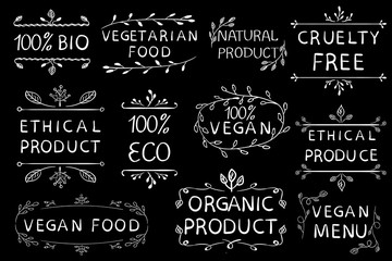 100 vegan ethical product cruetly free. Vintage hand drawn elements. White lines.