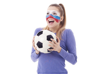 Ecstatic female fan with soccer ball cheering