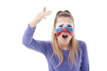 Front view of outraged female soccer fan