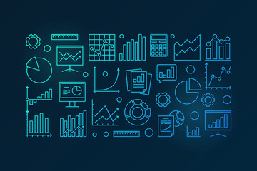 Business analysis blue vector illustration